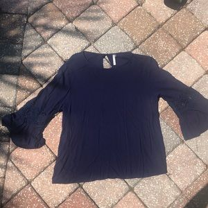 Dark Blue Long Sleeve Lace Blouse - Size L